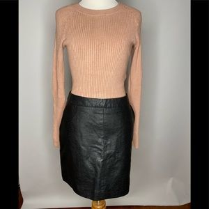 Leather skirt and pink cropped sweater bundle